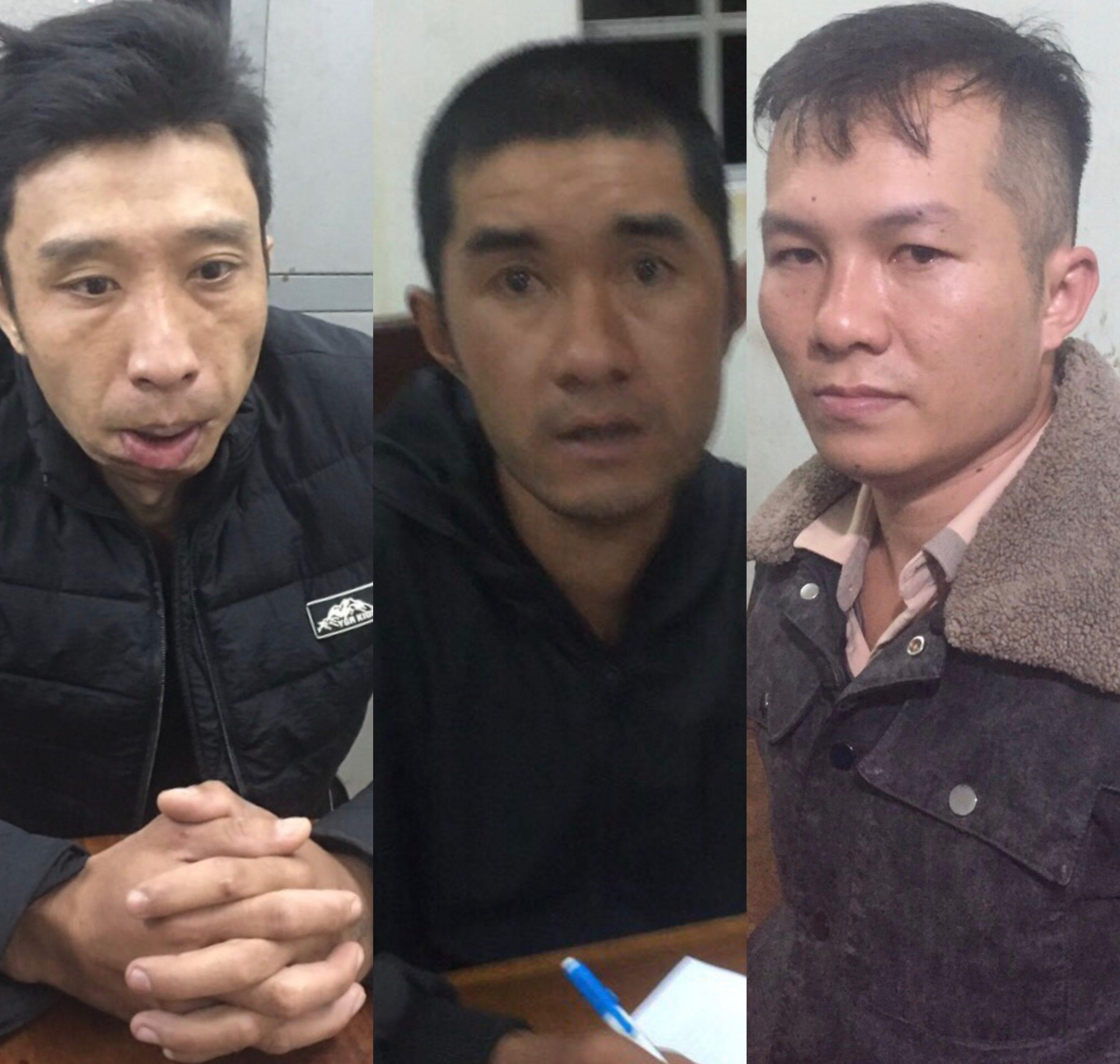 3 đối tượng Duy Ngọc, Vĩnh Ngọc và Duy (từ trái qua) đã bị bắt giữ. Ảnh: Văn Ngọc